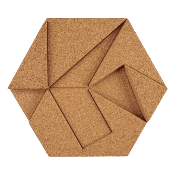 Cork hexagon without greening natural, pack of 22